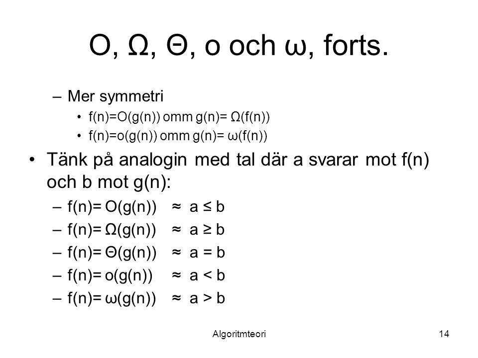 O, Ω, Θ, o och ω, forts. Mer symmetri. f(n)=O(g(n)) omm g(n)= Ω(f(n)) f(n)=o(g(n)) omm g(n)= ω(f(n))