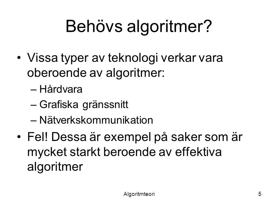 Behövs algoritmer Vissa typer av teknologi verkar vara oberoende av algoritmer: Hårdvara. Grafiska gränssnitt.