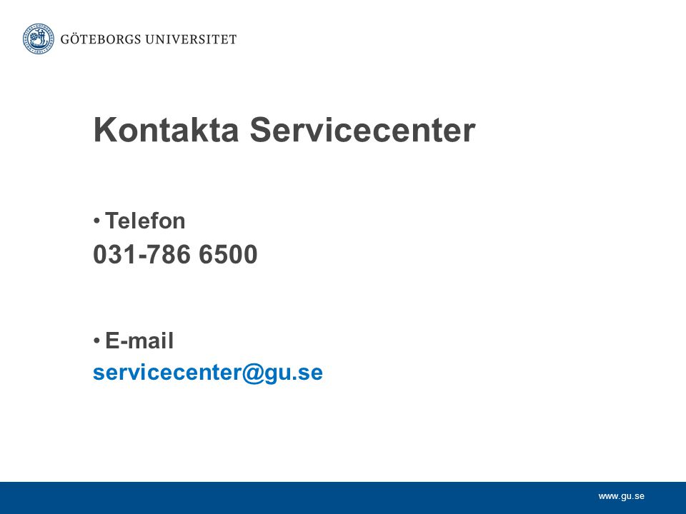 Kontakta Servicecenter