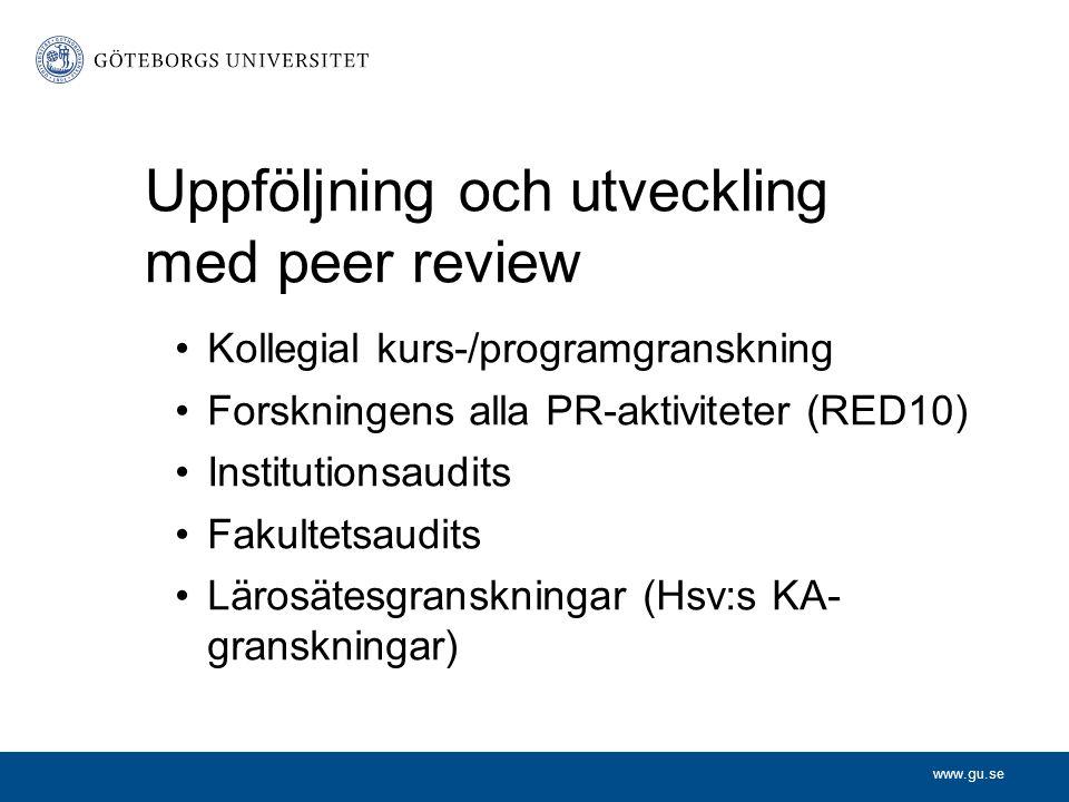 Uppföljning och utveckling med peer review