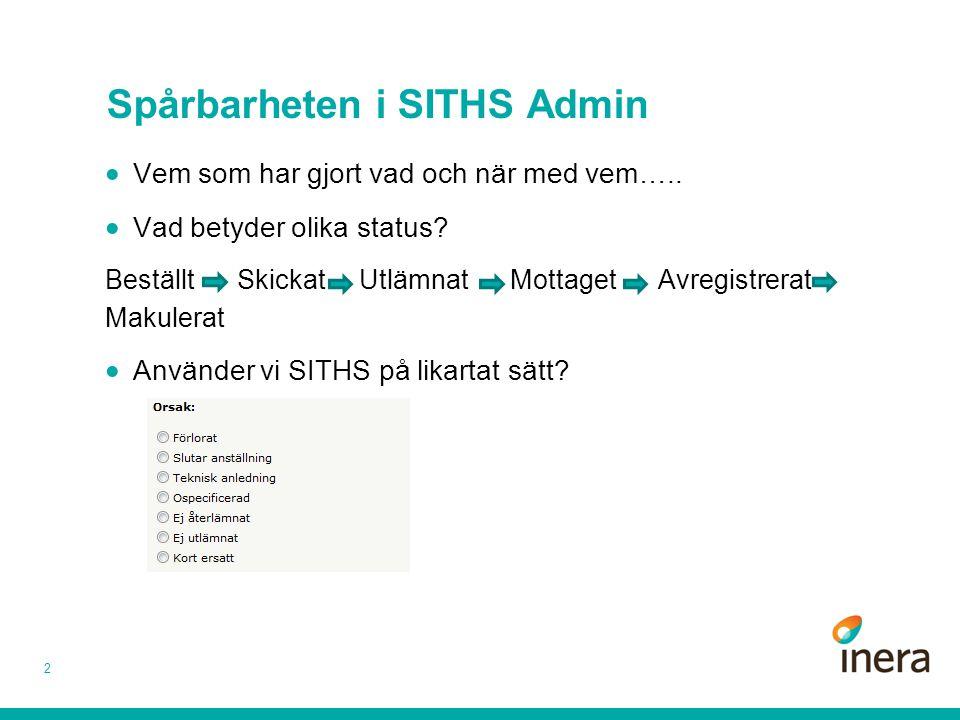 Spårbarheten i SITHS Admin