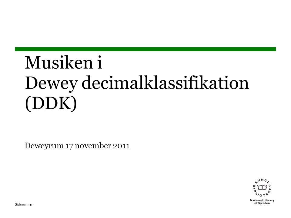 Musiken i Dewey decimalklassifikation (DDK) Deweyrum 17 november 2011