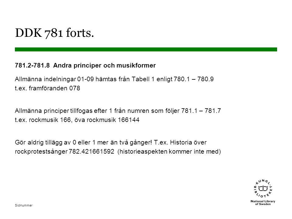 DDK 781 forts. 781.2-781.8 Andra principer och musikformer