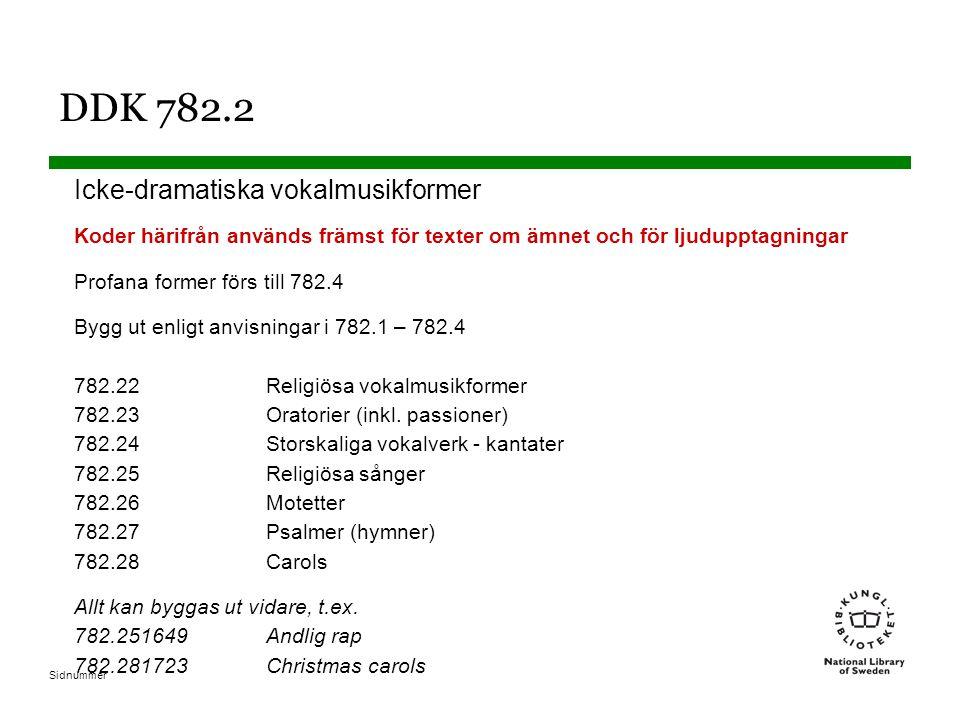 DDK 782.2 Icke-dramatiska vokalmusikformer
