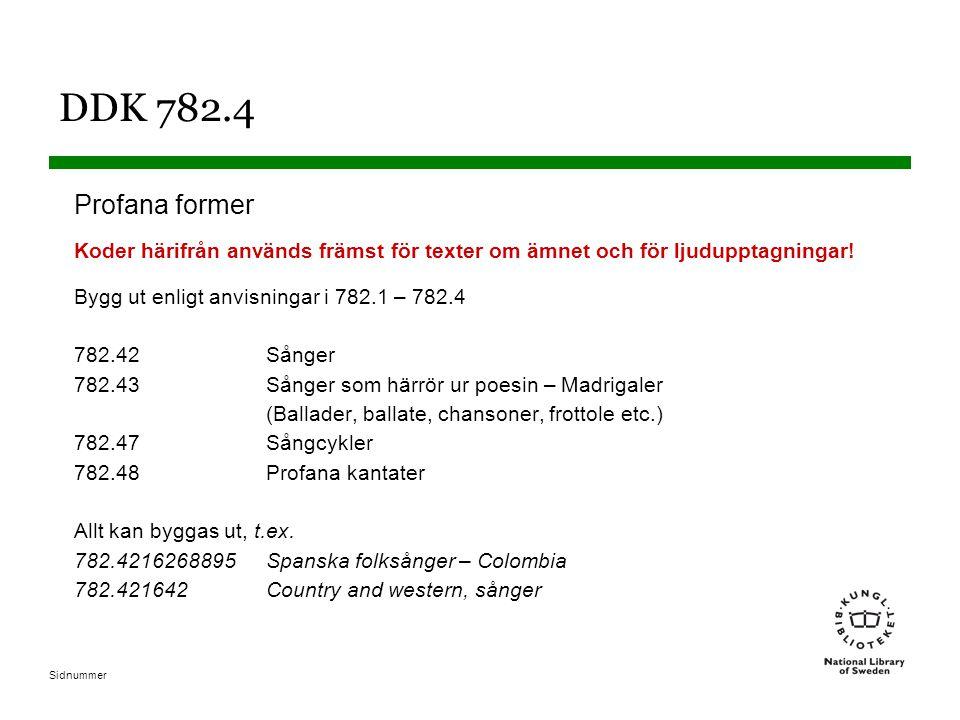 DDK 782.4 Profana former. Koder härifrån används främst för texter om ämnet och för ljudupptagningar!