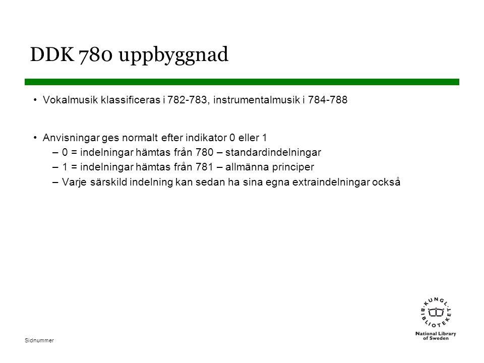DDK 780 uppbyggnad Vokalmusik klassificeras i 782-783, instrumentalmusik i 784-788. Anvisningar ges normalt efter indikator 0 eller 1.