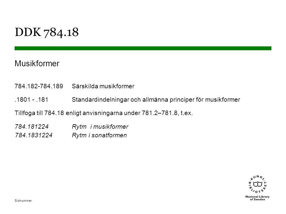 DDK 784.18 Musikformer 784.182-784.189 Särskilda musikformer