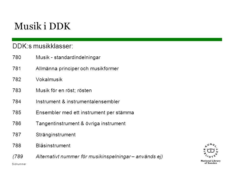 Musik i DDK DDK:s musikklasser: 780 Musik - standardindelningar