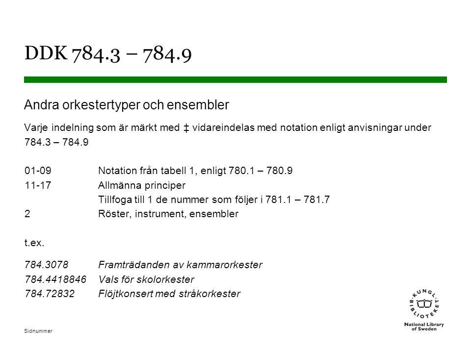 DDK 784.3 – 784.9 Andra orkestertyper och ensembler