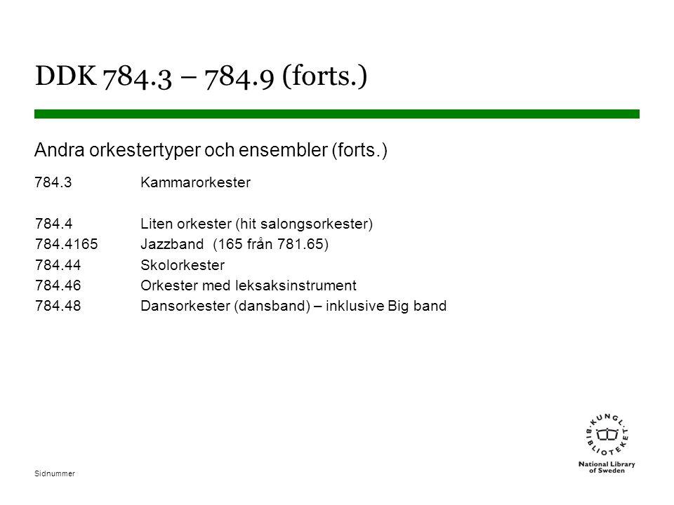 DDK 784.3 – 784.9 (forts.) Andra orkestertyper och ensembler (forts.)