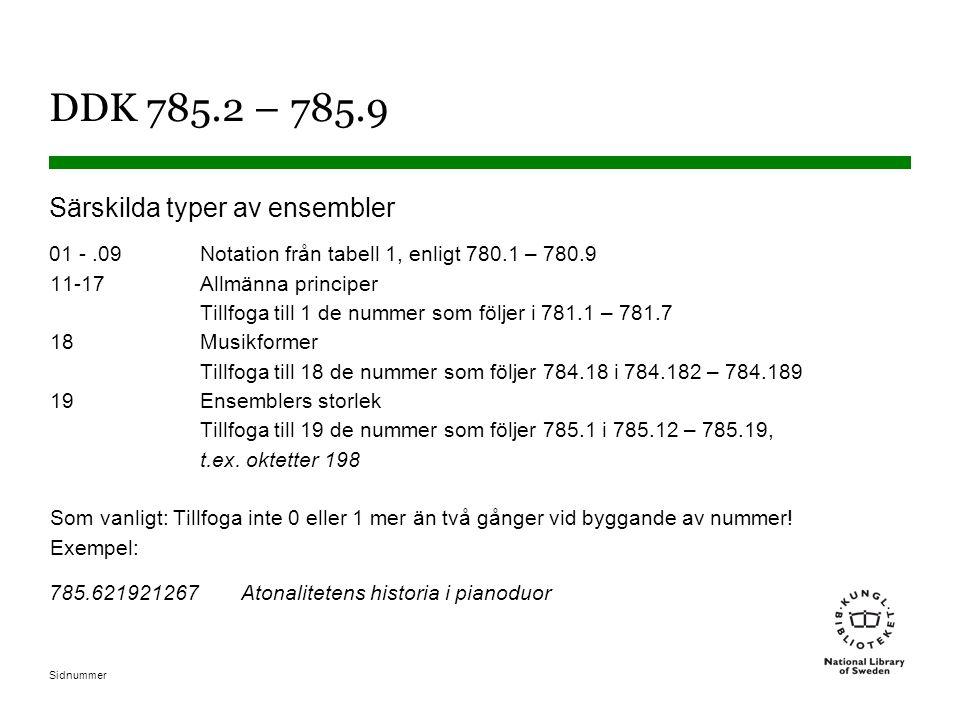 DDK 785.2 – 785.9 Särskilda typer av ensembler