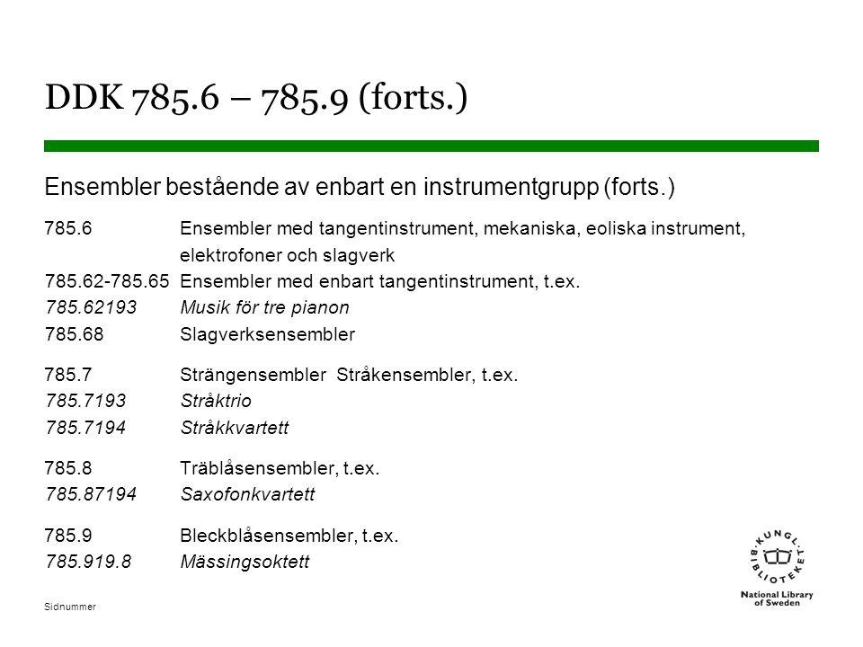 DDK 785.6 – 785.9 (forts.) Ensembler bestående av enbart en instrumentgrupp (forts.)