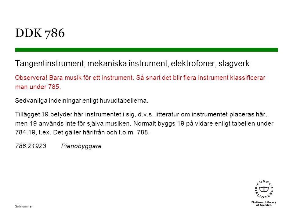 DDK 786 Tangentinstrument, mekaniska instrument, elektrofoner, slagverk.