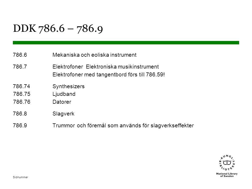 DDK 786.6 – 786.9 786.6 Mekaniska och eoliska instrument