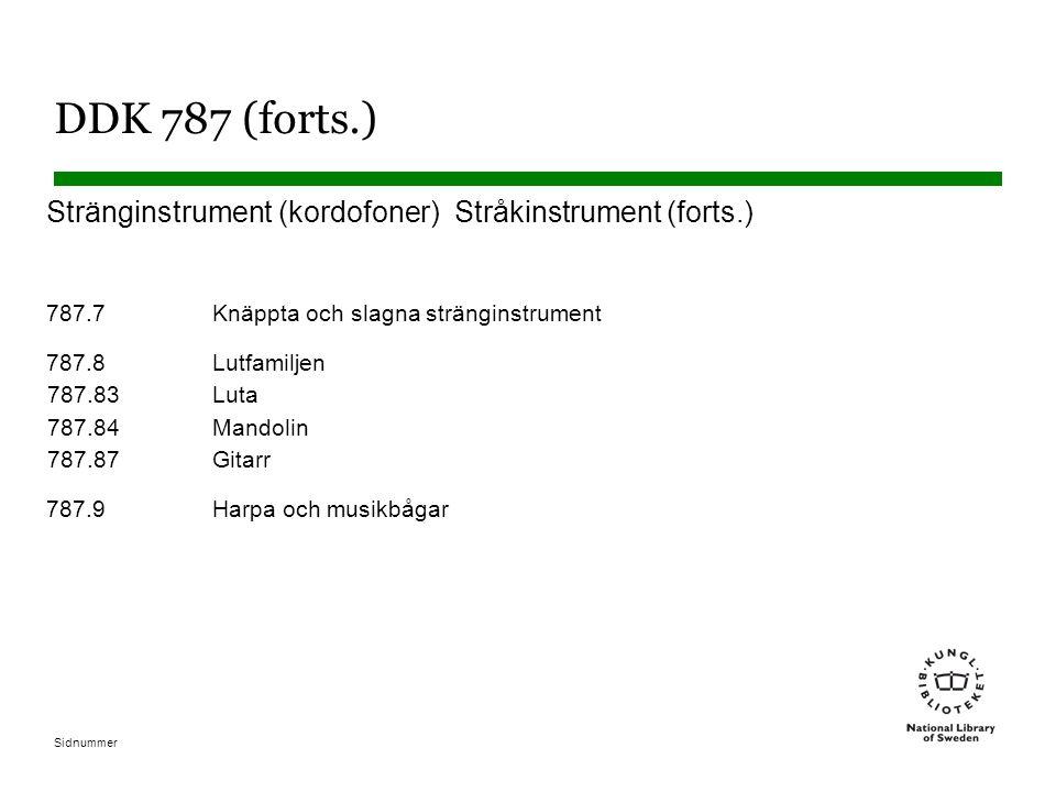 DDK 787 (forts.) Stränginstrument (kordofoner) Stråkinstrument (forts.) 787.7 Knäppta och slagna stränginstrument.