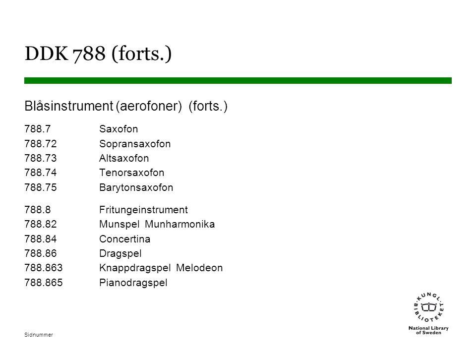 DDK 788 (forts.) Blåsinstrument (aerofoner) (forts.)