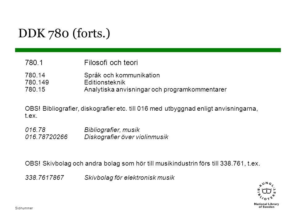 DDK 780 (forts.) 780.1 Filosofi och teori