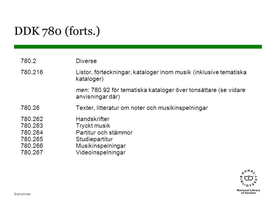 DDK 780 (forts.) 780.2 Diverse. 780.216 Listor, förteckningar, kataloger inom musik (inklusive tematiska kataloger)