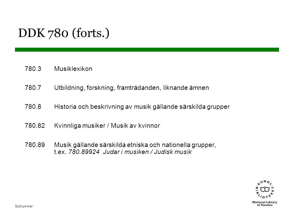 DDK 780 (forts.) 780.3 Musiklexikon