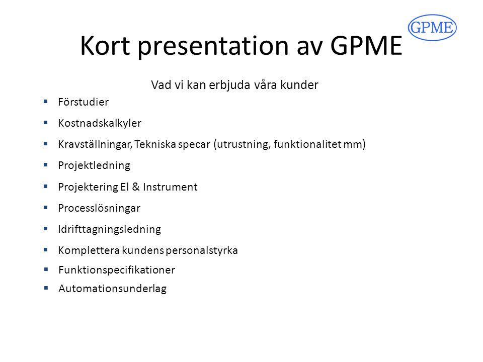 Kort presentation av GPME