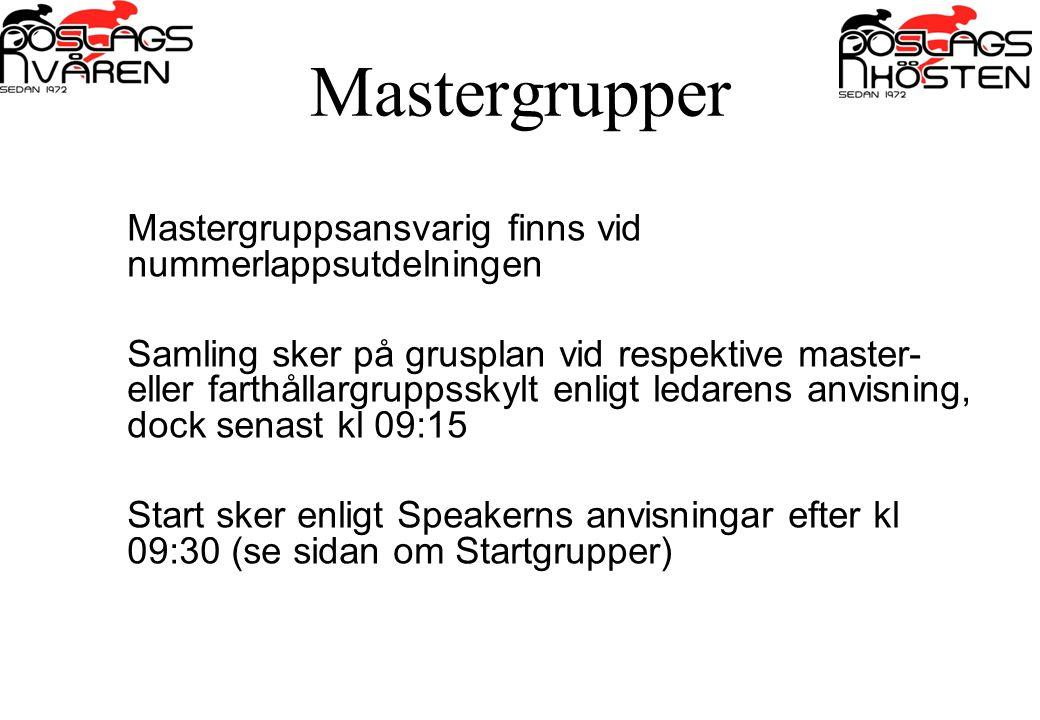 Mastergrupper Mastergruppsansvarig finns vid nummerlappsutdelningen