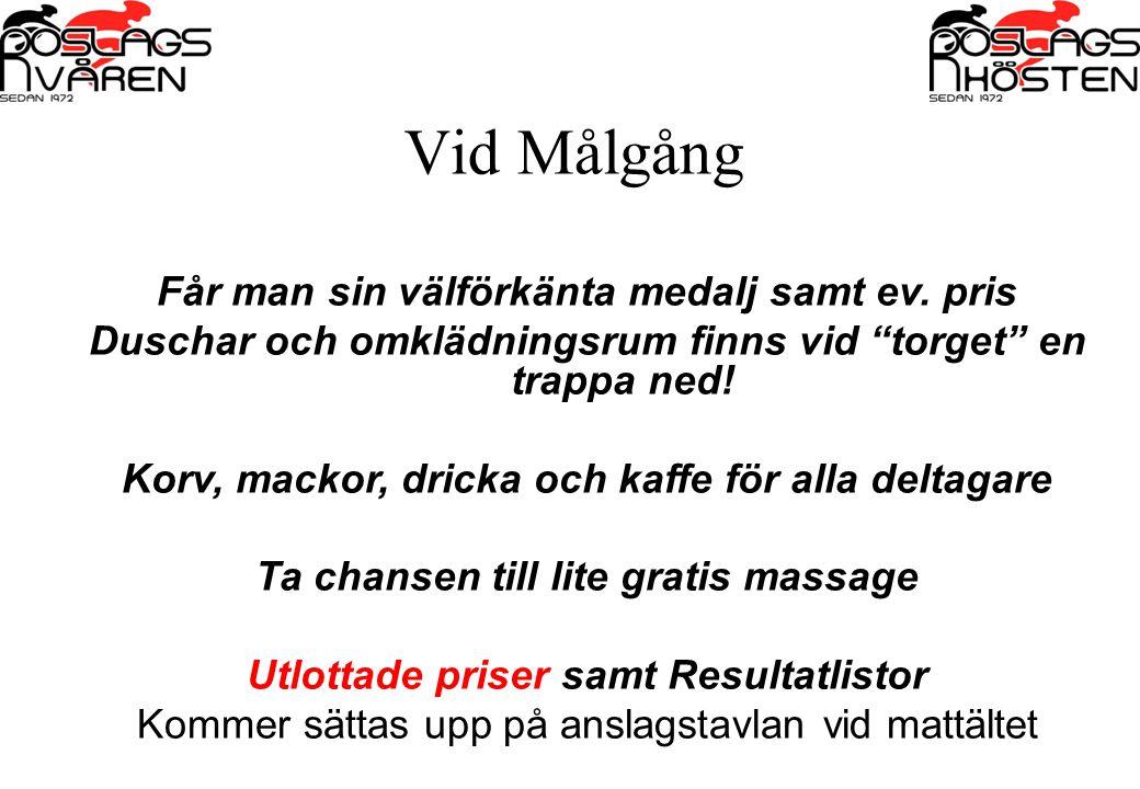 Vid Målgång Får man sin välförkänta medalj samt ev. pris