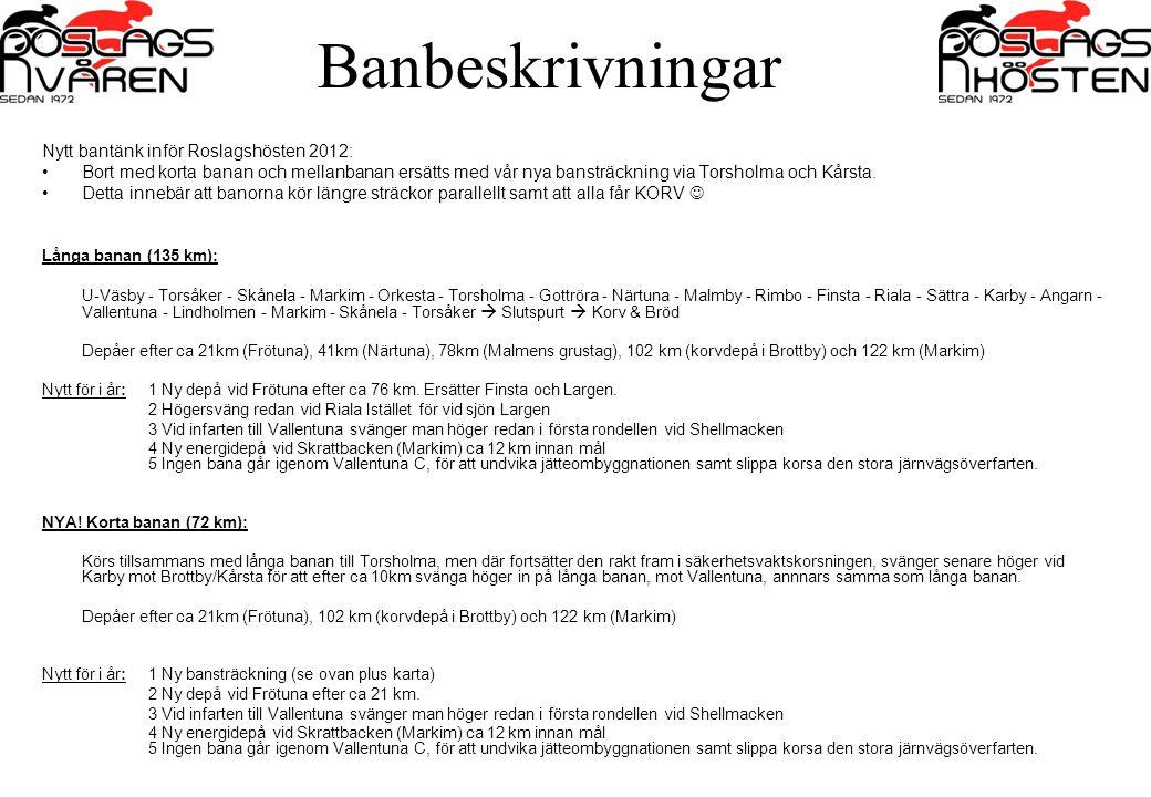 Banbeskrivningar Nytt bantänk inför Roslagshösten 2012: