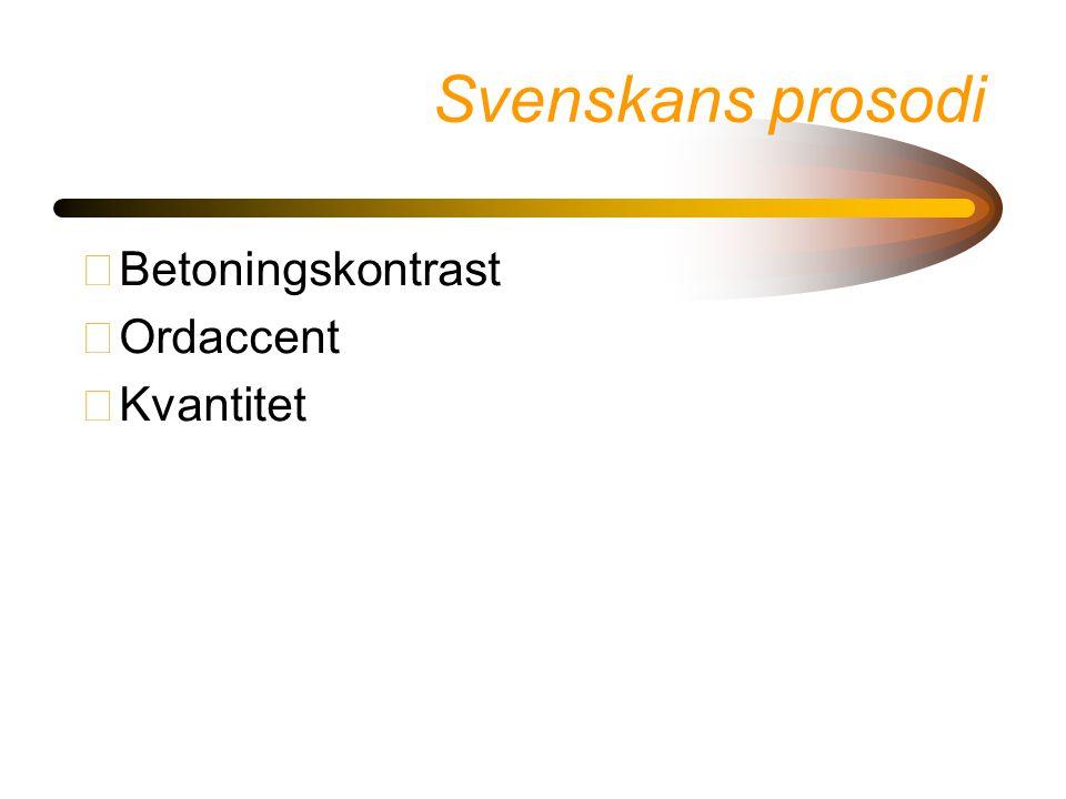 Svenskans prosodi Betoningskontrast Ordaccent Kvantitet