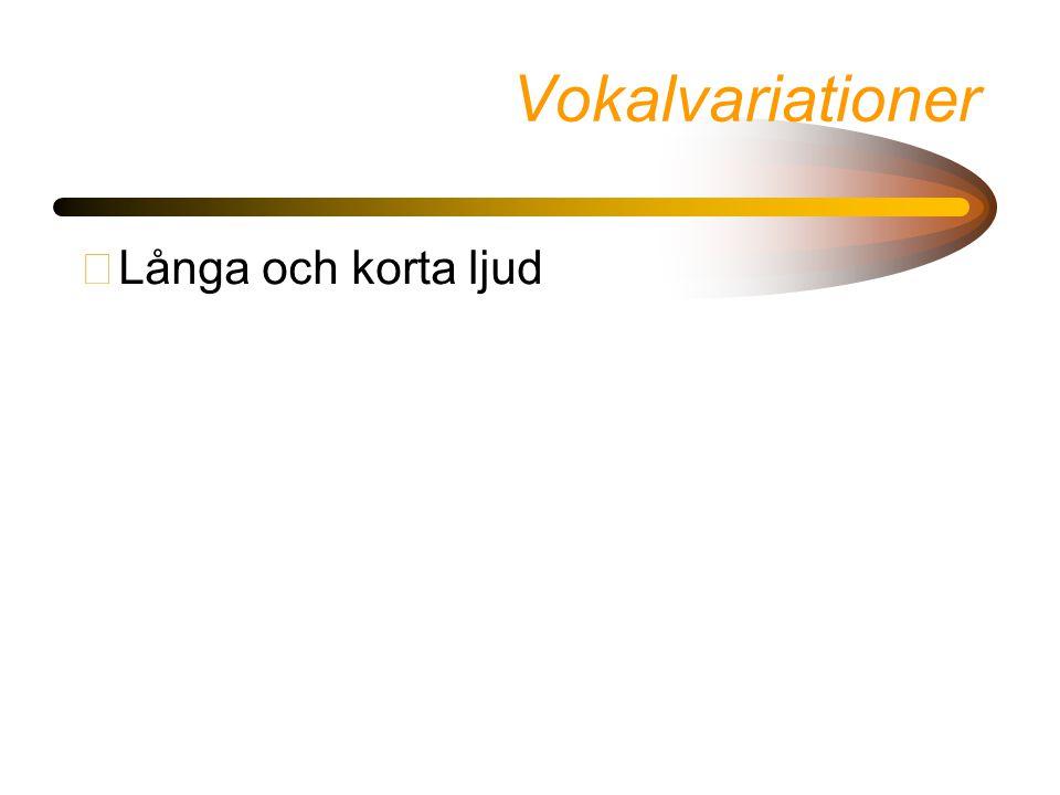 Vokalvariationer Långa och korta ljud
