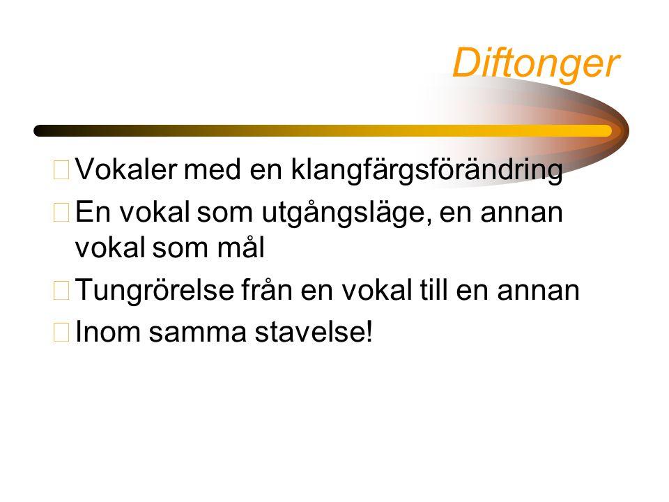 Diftonger Vokaler med en klangfärgsförändring