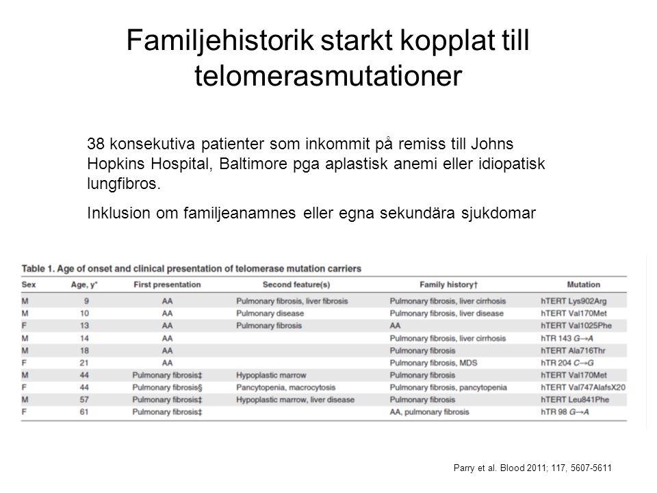 Familjehistorik starkt kopplat till telomerasmutationer