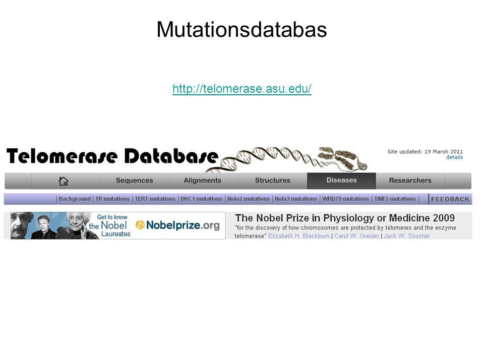 Mutationsdatabas http://telomerase.asu.edu/