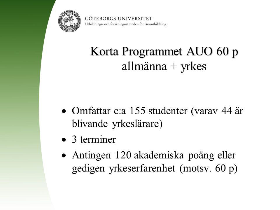 Korta Programmet AUO 60 p allmänna + yrkes