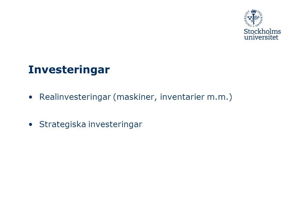 Investeringar Realinvesteringar (maskiner, inventarier m.m.)