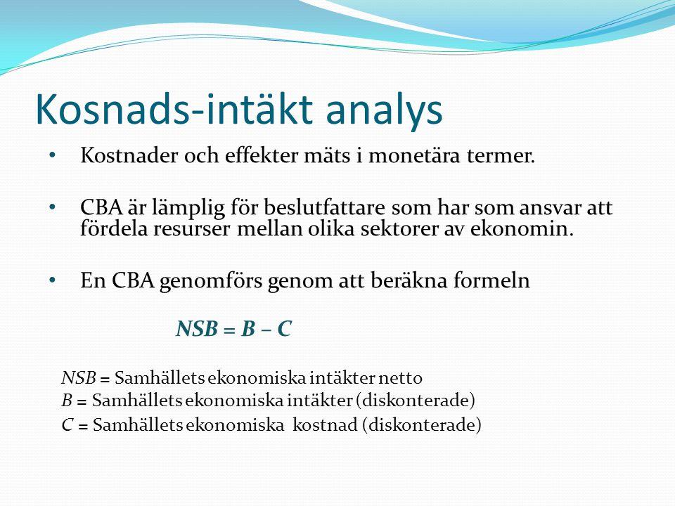 Kosnads-intäkt analys