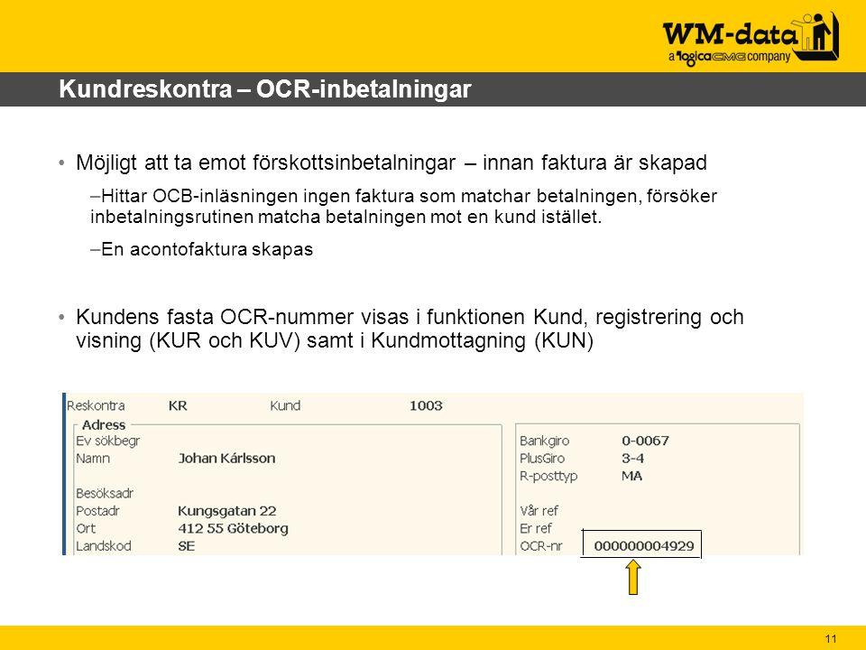 Kundreskontra – OCR-inbetalningar