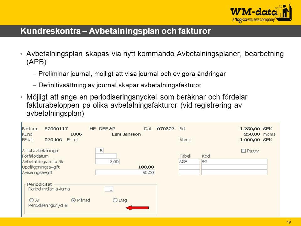 Kundreskontra – Avbetalningsplan och fakturor