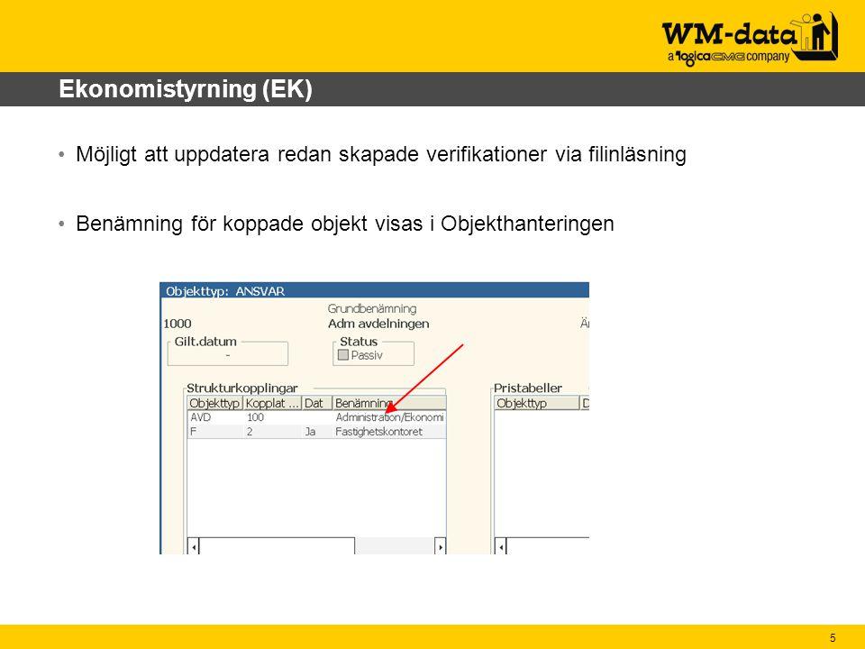 Ekonomistyrning (EK) Möjligt att uppdatera redan skapade verifikationer via filinläsning.