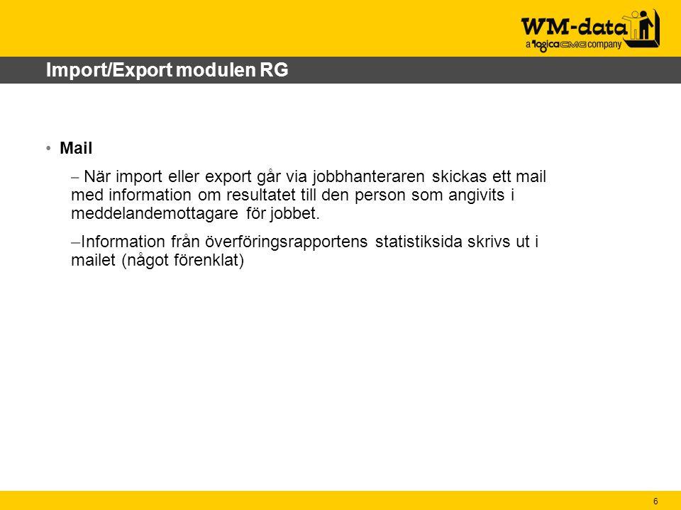 Import/Export modulen RG