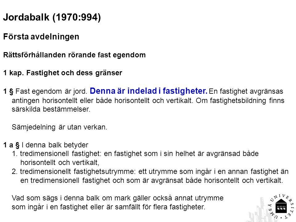 Jordabalk (1970:994) Första avdelningen