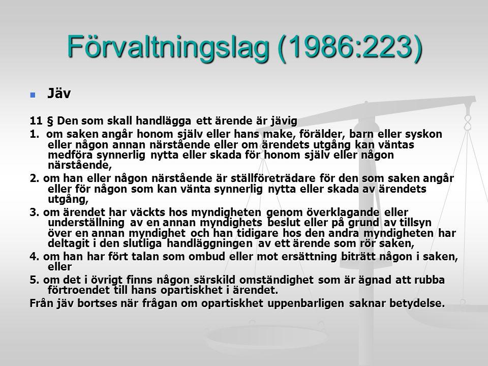 Förvaltningslag (1986:223) Jäv