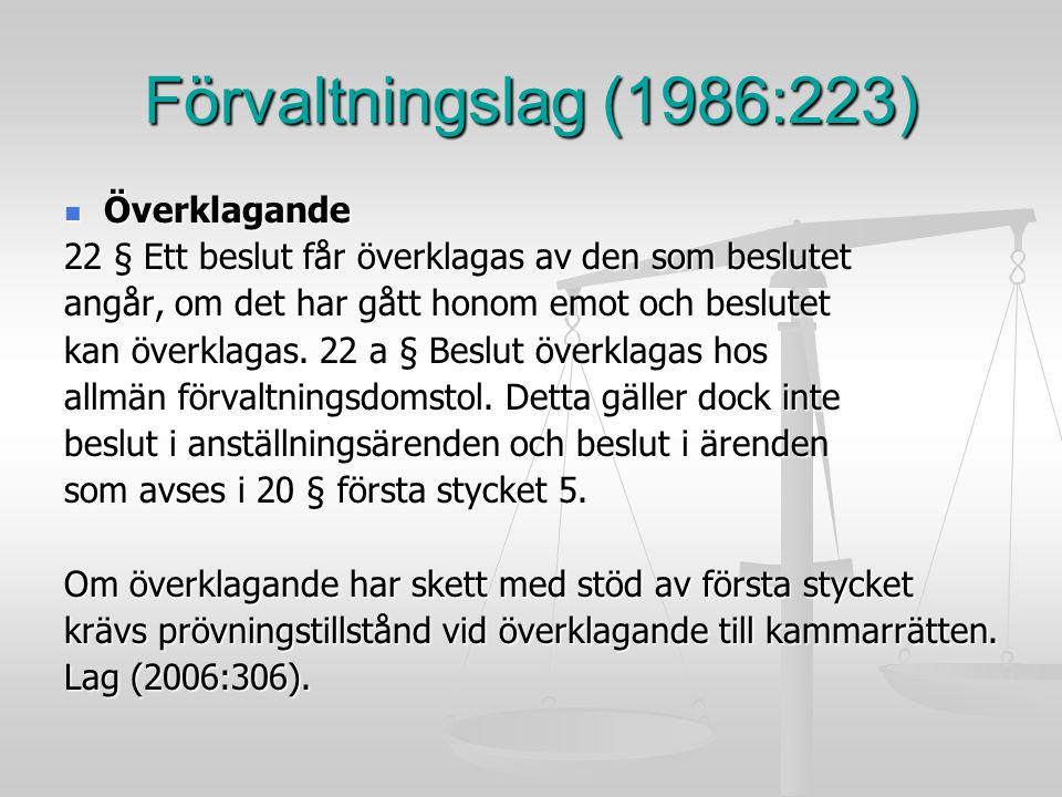 Förvaltningslag (1986:223) Överklagande