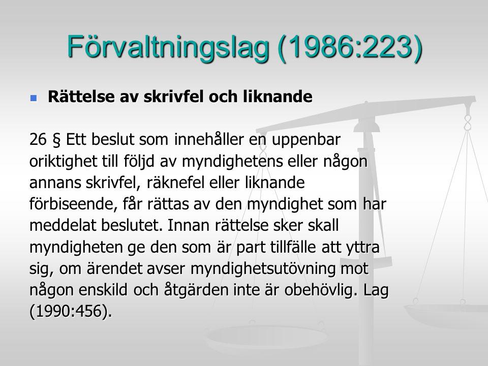 Förvaltningslag (1986:223) Rättelse av skrivfel och liknande