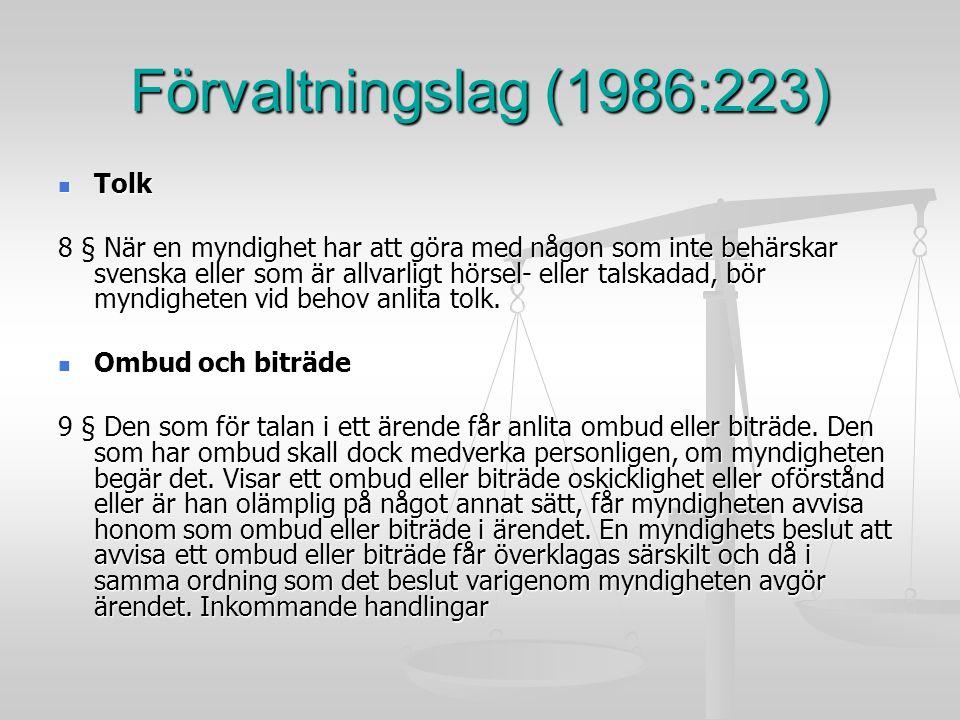 Förvaltningslag (1986:223) Tolk