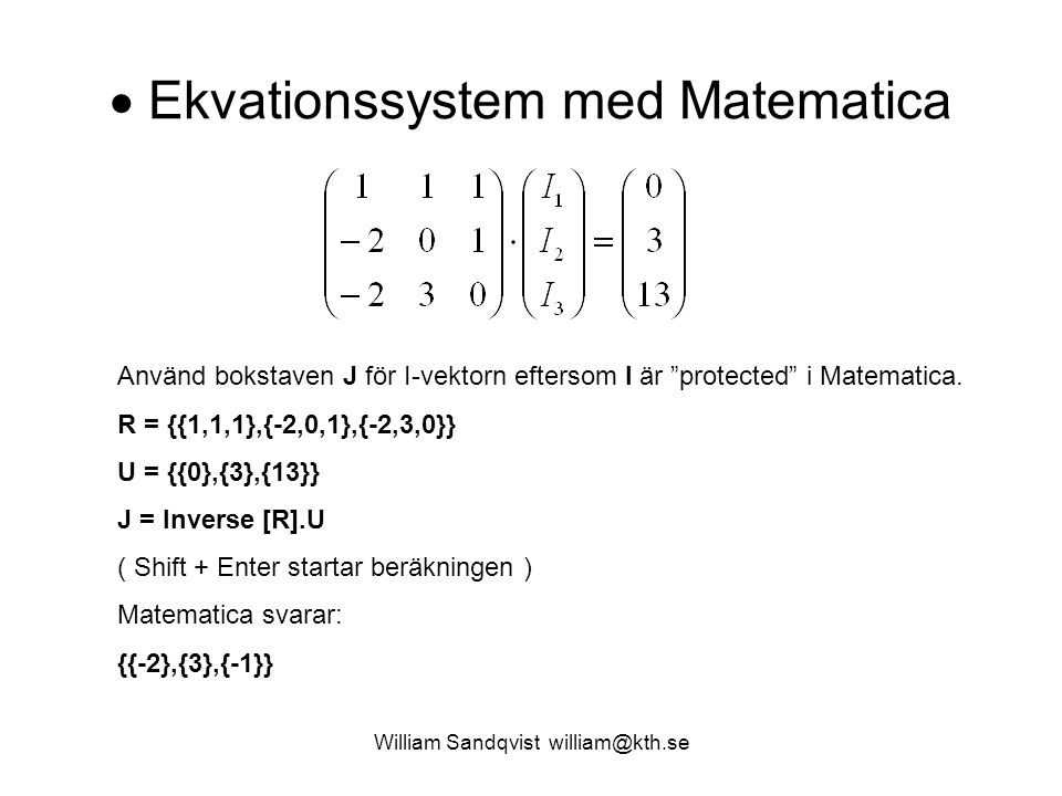  Ekvationssystem med Matematica