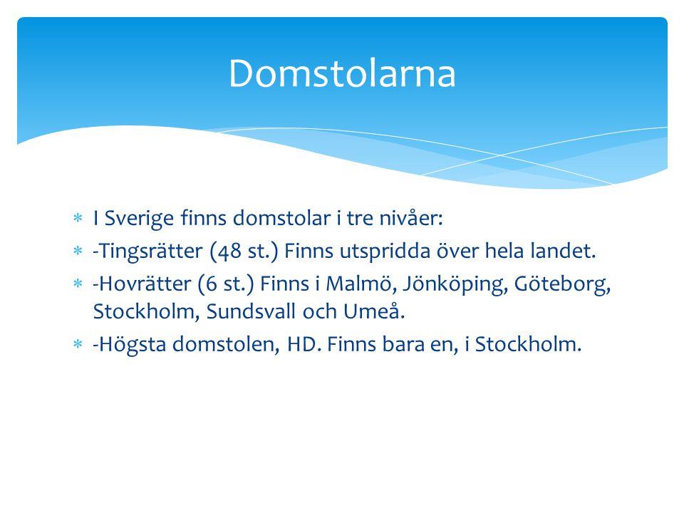 Domstolarna I Sverige finns domstolar i tre nivåer: