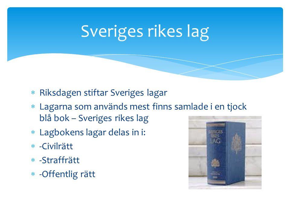 Sveriges rikes lag Riksdagen stiftar Sveriges lagar