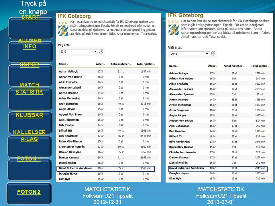 Tryck på en knapp START ALLMÄN INFO CUPER MATCH STATISTIK FOTBOLLS