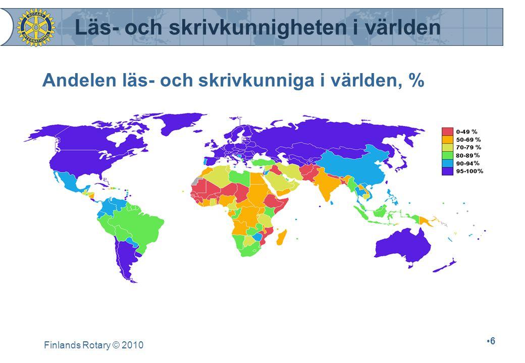 Andelen läs- och skrivkunniga i världen, %