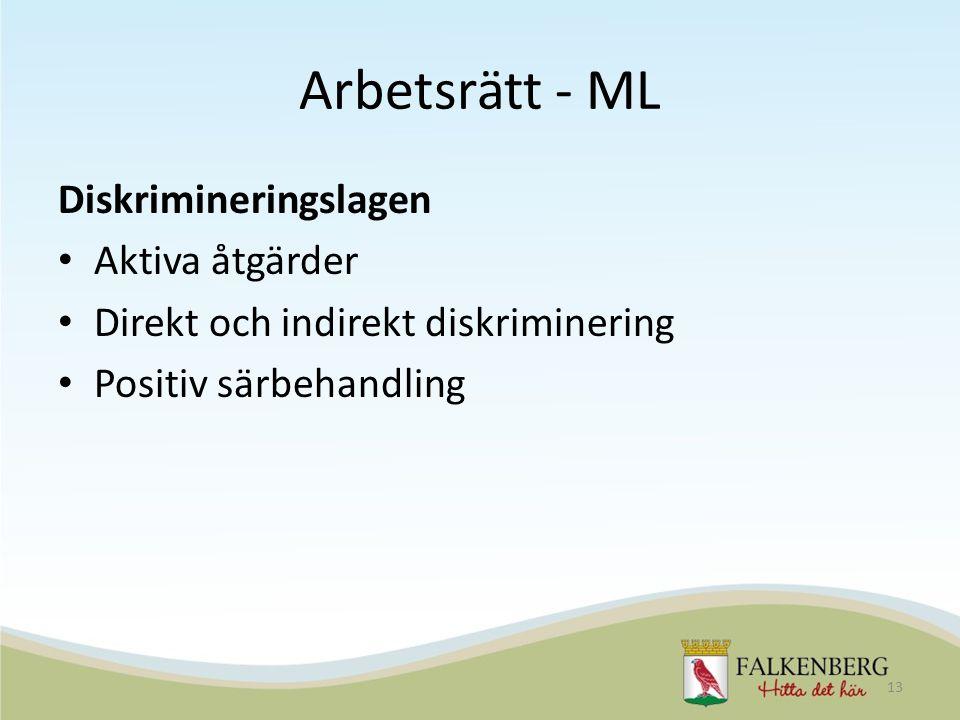 Arbetsrätt - ML Diskrimineringslagen Aktiva åtgärder